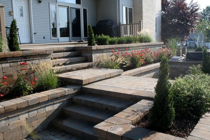Cambridge Pavingstones with Armortec pavingstone steps and walkway.