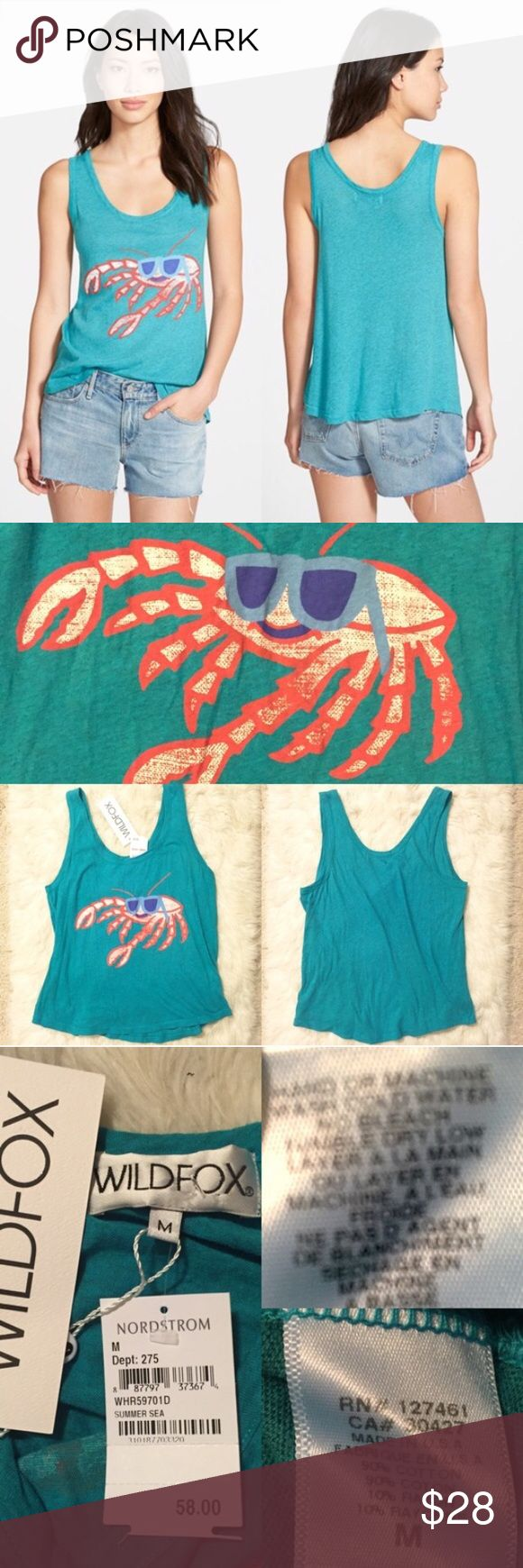 """NWT Wildfox Cool Crab Tank Brand new with tags authentic Wildfox tank. A sunglass-clad crab gets pinchy with it on the front of a scoop-neck tank knit from a heathered cotton blend. Approx 25"""" length, 20"""" across bus. Size Medium. 90% cotton, 10% rayon. Hand wash cold, tumble dry low. By Wildfox; made in the USA. Model photo credit Nordstrom. ❌No trades❌Price firm unless bundled. Wildfox Tops Tank Tops"""