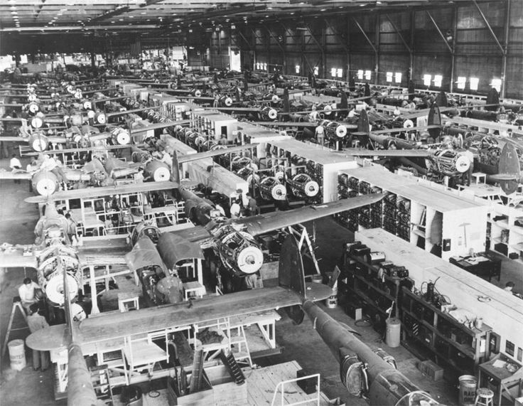 P-38 Lightning aircraft being built at the Lockheed factory in Burbank, California, date unknown