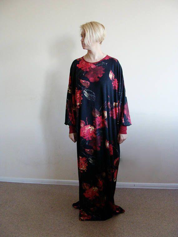 Black Maxi Dress Plus Size Prayer dress Farasha Caftan