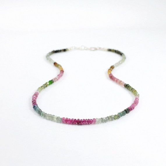 Tourmaline necklace in sterling silver Dainty gemstone necklace Ombre jewelry Multi color necklace