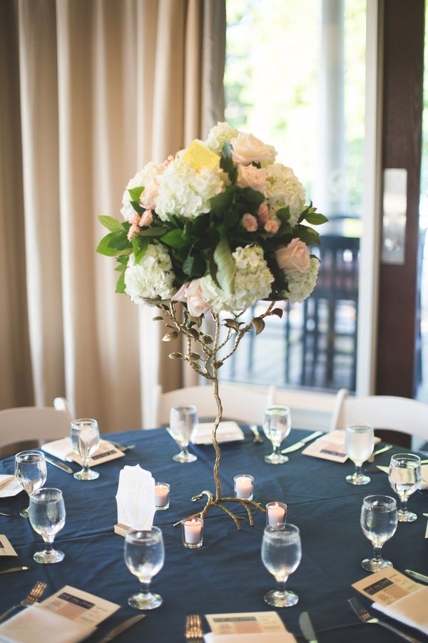 Wedding centerpiece - Gold tree with pink + white bouquet | Flowers, cake topper, Charlotte wedding, Charlotte wedding vendors, classic, intimate, romantic, navy, yacht club