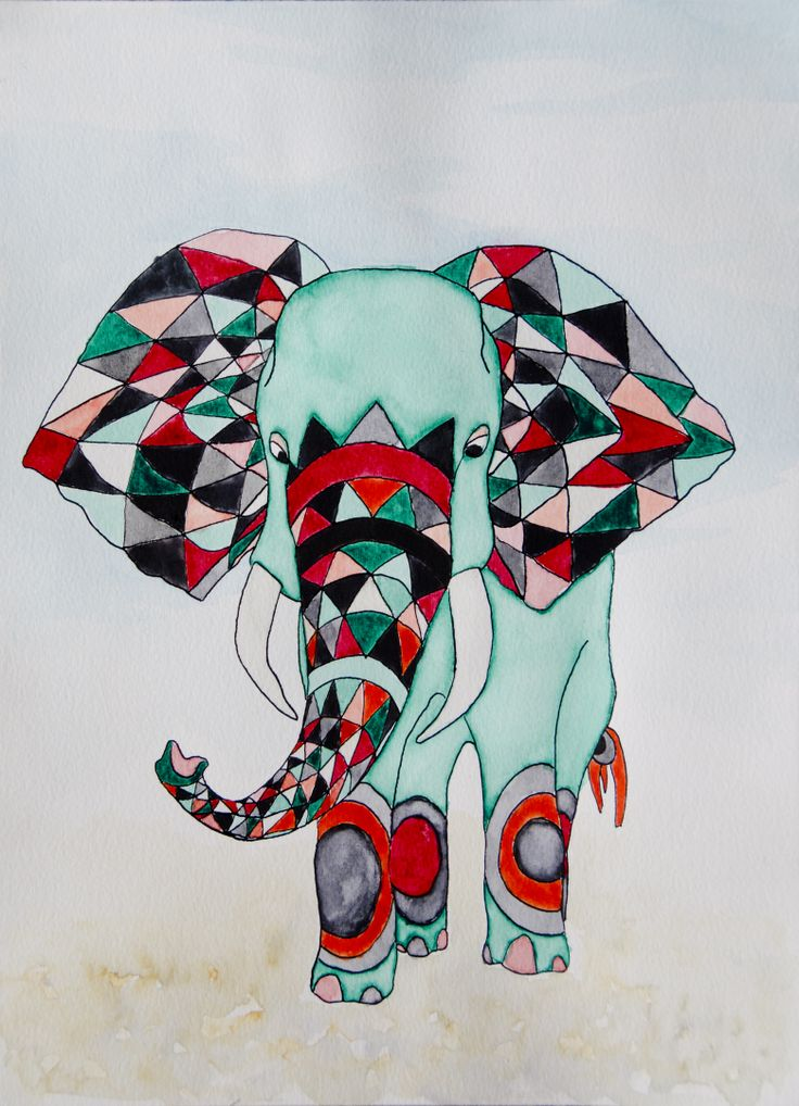 colourful elephant. Watercolor and ink drawing by katrine mosegaard
