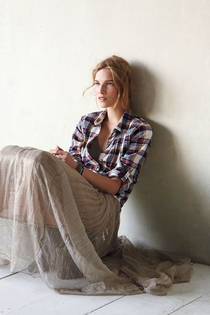 Anthropologie: Outfits, Flannels Shirts, Fashion, Ankle Boots, Metals Maxi, Long Skirts, Sheer Maxi Skirts, Maternity Style, Plaid Shirts