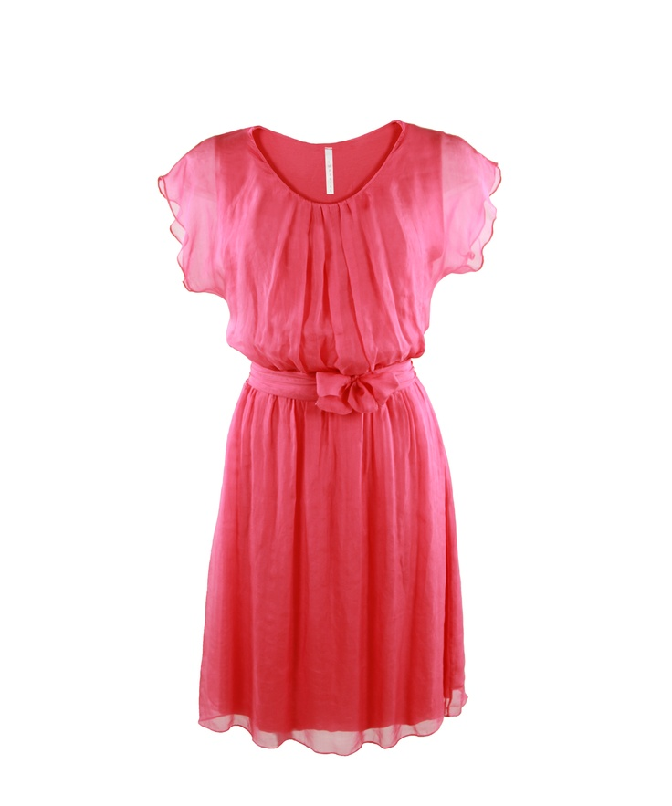 Mini soft dress with a ribbon in the waist