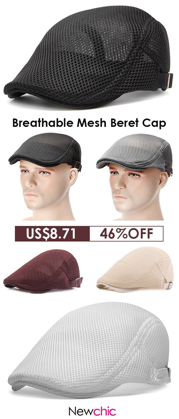 2336e6b5e4257d 【 2 / US$16.82 】US$8.71--Mens Mesh Beret Cap /Breathable Visor Flat Hat# summer #outfits #hat