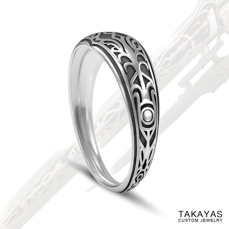 Custom Oxidized Sterling Silver Final Fantasy XIII 2 Wedding Band For Maggie And Jaime By