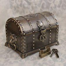 Size L Bronze Color Treasure Chest Vintage Pirates of the Caribbean Jewelry Box – Papiermache