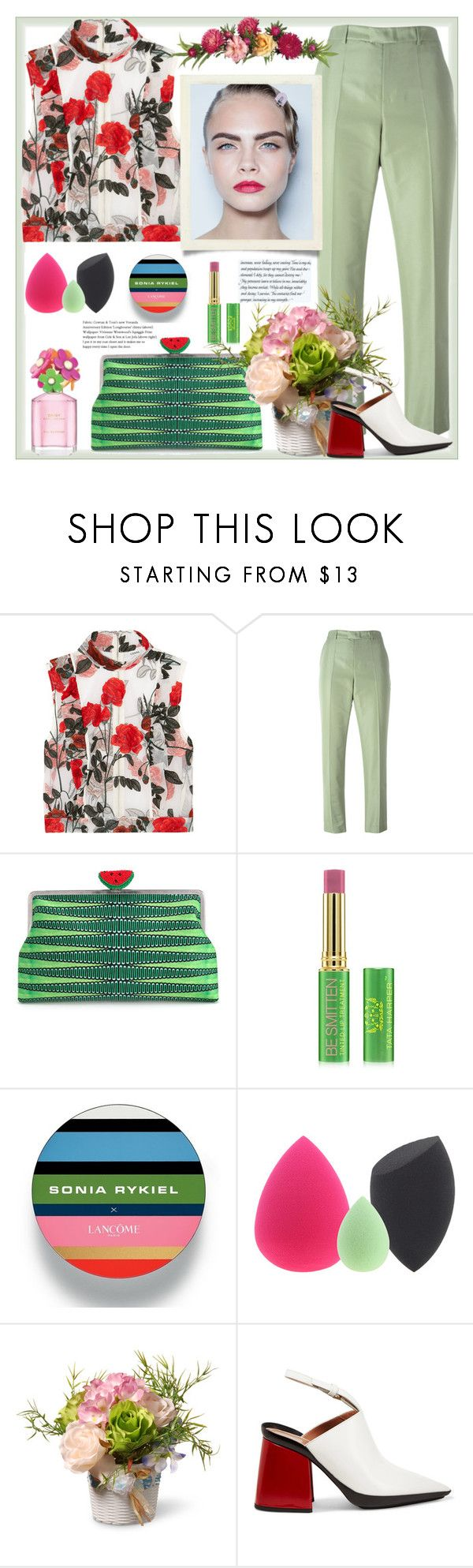 """Colourful set"" by natalyapril1976 ❤ liked on Polyvore featuring Ganni, RED Valentino, Sarah's Bag, Tata Harper, Lancôme, Marc Jacobs, National Tree Company and Marni"