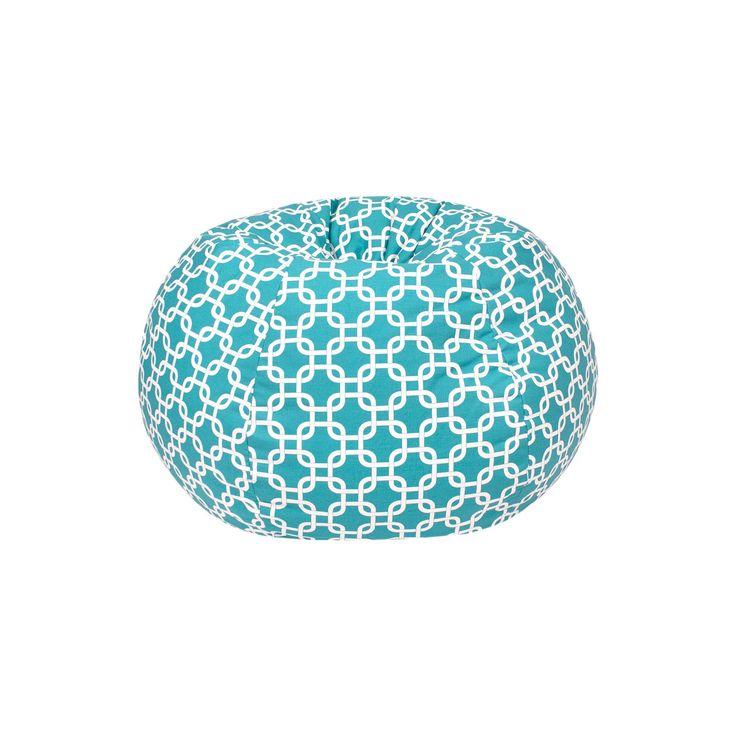 Medium Gotcha Hatch Print Pattern Bean Bag Chair - Turquoise - Gold Medal, Aqua Ice