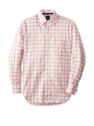 55% OFF TailorByrd Men's Dakota Long Sleeve Checked Hidden Sportshirt (Tangerine)