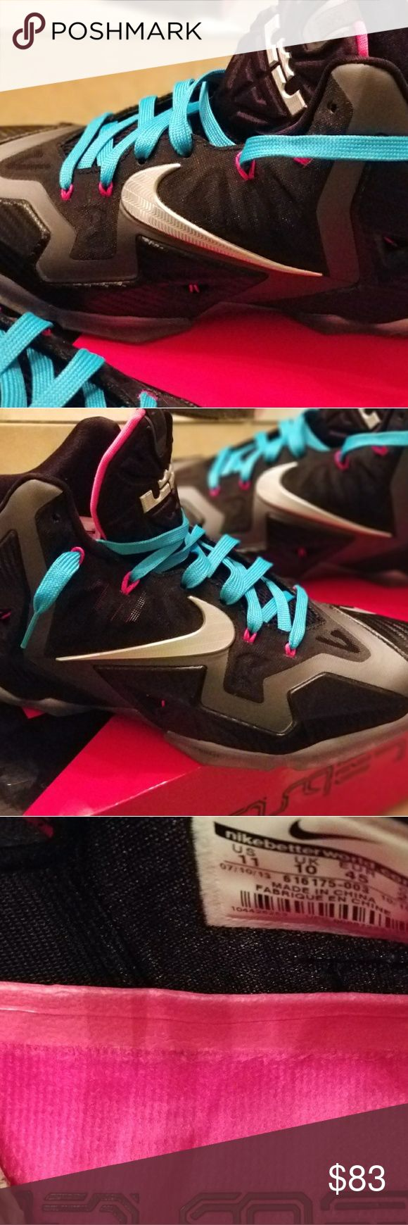Nike LeBron 11 The Nike LeBron 11 miami nights- the signature shoe worn by LeBron during his 2nd title run with the Miami Heat. They are available one click away. Featuring the black, silver, and signature tone of Miami lights pink. The shoes have only been worn a couple times and kept as a keepsake. They come in the original Nike box. No scratches, scuffs, or gimmicks. Black Nike laces will also be included with order. Nike Shoes Sneakers