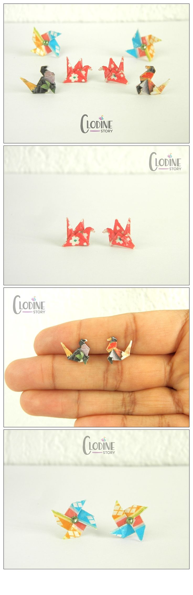 20 best this origami jewelry images on pinterest origami earrings set mini origami stud earrings origami jewelry paper jewelry seal jeuxipadfo Gallery