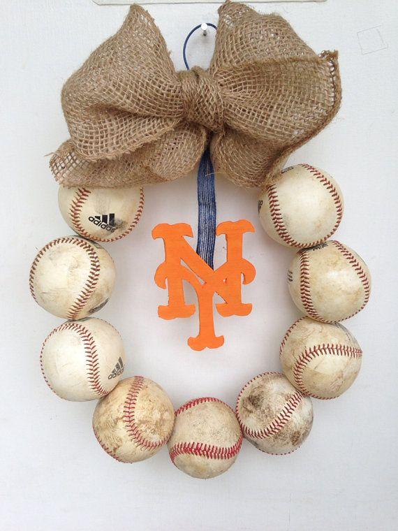 New York Mets Burlap Baseball Wreath by HartFilledDesigns on Etsy