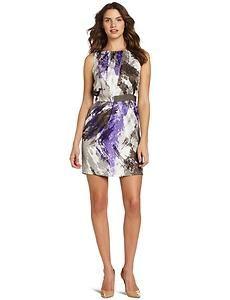 Nine West Purple Grey Multi Painted Brushstrokes Satin Tulip Skirt Dress Size 10 $41.39