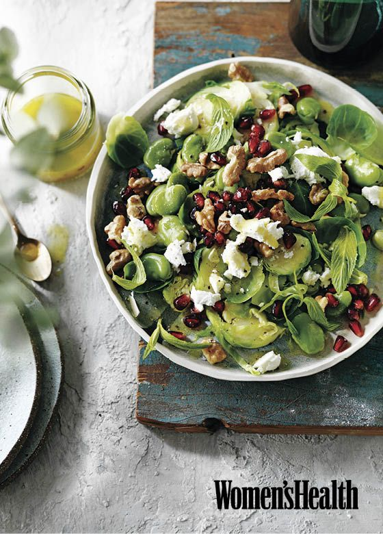 Shaved Brussels Sprouts with Pomegranate, From Jessica Sepel's new book, Living the Healthy Life. Women's Health March 2017