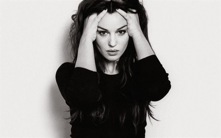 Lataa kuva Monica Bellucci, 4k, muotokuva, yksivärinen, italian malli, näyttelijä, kaunis nainen