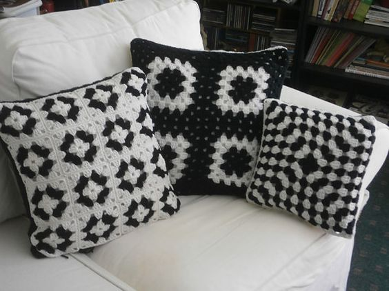 CROCHET PILLOW SET black and white granny square by afghansbyanne: