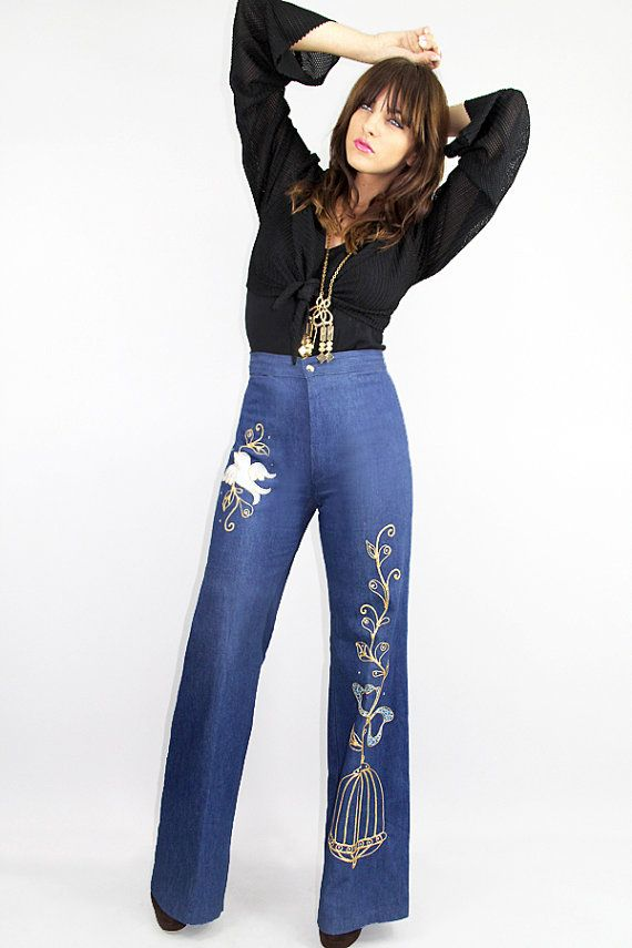 60s Bell Bottom Jeans Gold Metallic Fashion 1 Then
