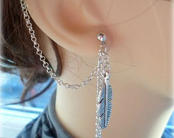 Feather Ear Cuff - Earring Stud, Silver Plated - No Upper Ear Piercing Required