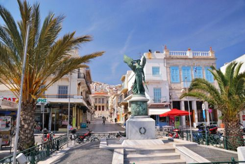 Welcome to Syros - A statue on the seafront in the port of Ermoupolis. #syros
