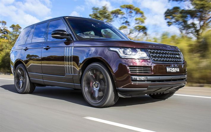 Download wallpapers Range Rover Vogue, 4k, 2018 cars, maroon Range Rover, Land Rover, SUVs, Range Rover