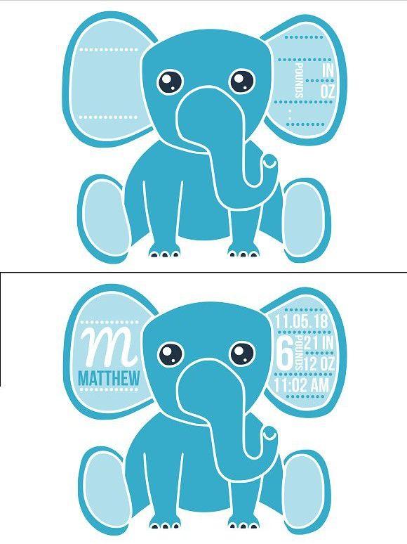 Download Birth stats elephant svg, baby boy   Elephant birth ...