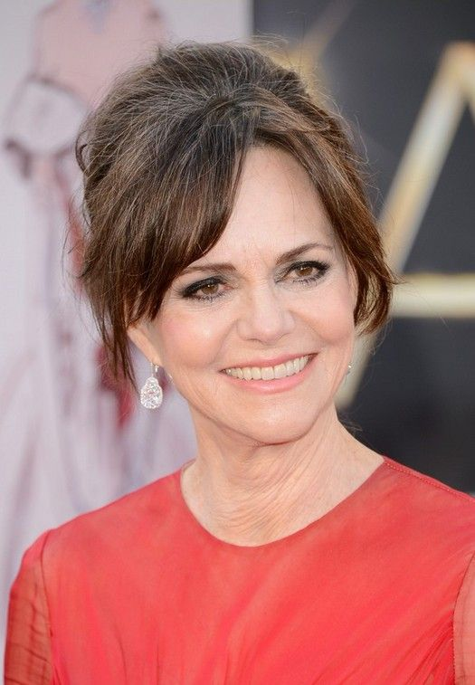 Updo for Older Women Age Over 60: Slightly Bouffant Updo with Bangs - Sally Field's Hairstyle - Hairstyles Weekly