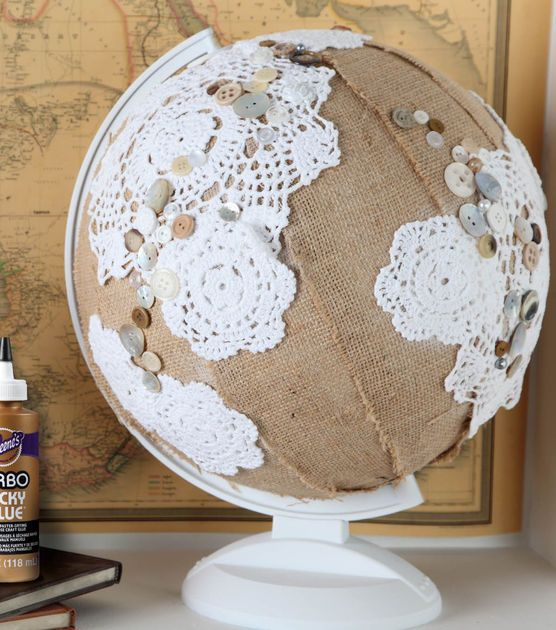 #DIY Home Decor Project | Glam up your Globe and make it a fun work of art and great conversation piece! | Supplies available at Joann.com | Click through for full directions | #upcycle: Doilies Globes, Art Crafts, Global Glam, Crafts Projects, Upcycled Burlap, Home Decor, Joanne Com, Diy, Glam Upcycled