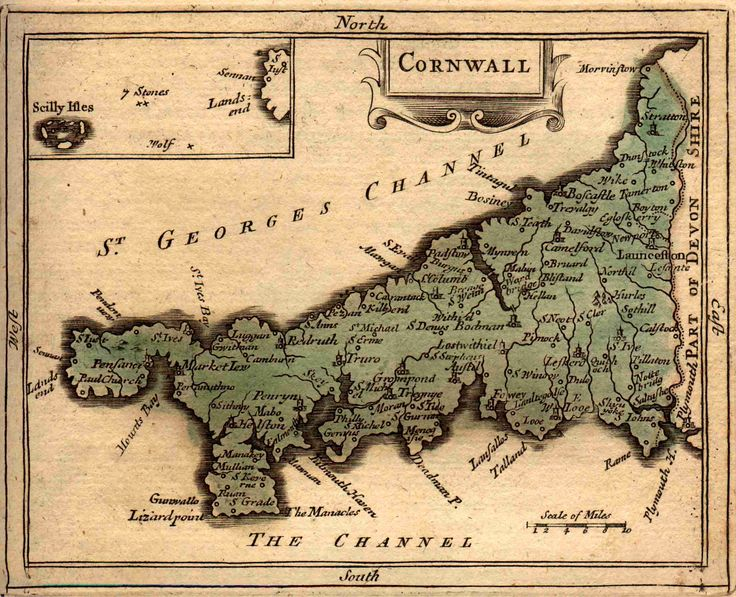 Old map of Cornwall, 18th Century. From The Antiquities of England and Wales (1783)