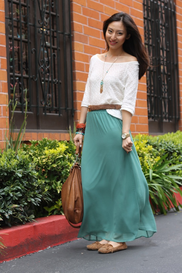 Forever 21 Green Chiffon Maxi skrit & H crochet top-Romantic outfit for my Sunday Morning