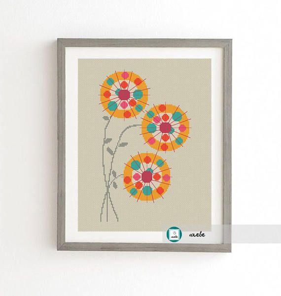 Retro flowers cross stitch pattern modern cross stitch