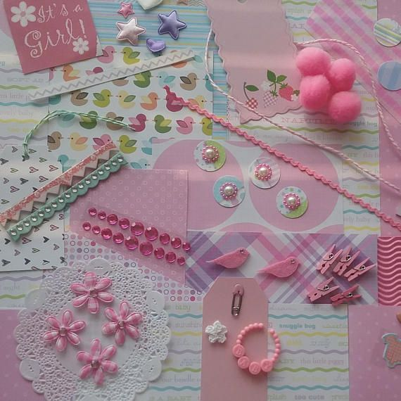 It's a Girl Scrapbook Embellishments Traditional Pink