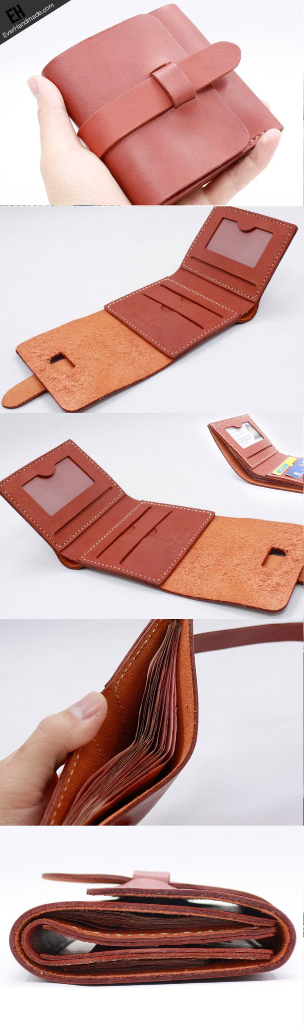 Handmade Leather short wallet purse women small wallet vintage cute
