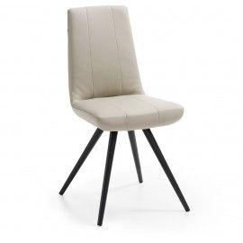 Scudo2 stoel  - Creme PU leder - Zwart onderstel - Laforma-Kave Maak je eetkamer compleet met deze strakke eetkamerstoel! De Scudo2 heeft een hoge zithoogte waardoor deze stoel perfect geschikt is voor jouw lange benen. De eetkamerstoel is gestoffeerd in PU leder en heeft een zwart gespoten onderstel.