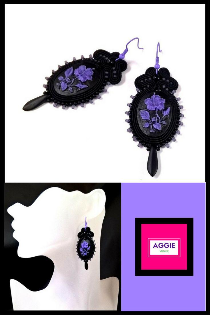 Gothic style soutache earrings  Gotyckie kolczyki Czarne kolczyki Sutasz