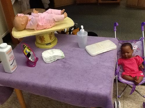 Baby area-baby scale, diapers, mirrors, wipes w/ kleenex inside
