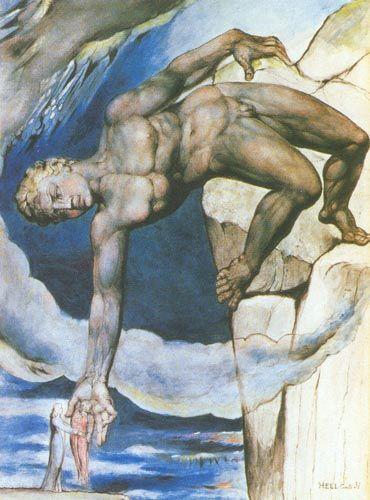 Уильям Блейк. Антей, опускающий Данте и Вергилия в последний круг ада