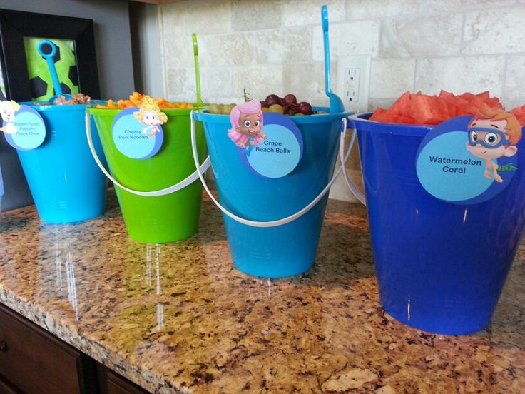 Bubble Guppies Birthday Snacks In Sand Pails Beach Balls Grapes Cheesy Pool