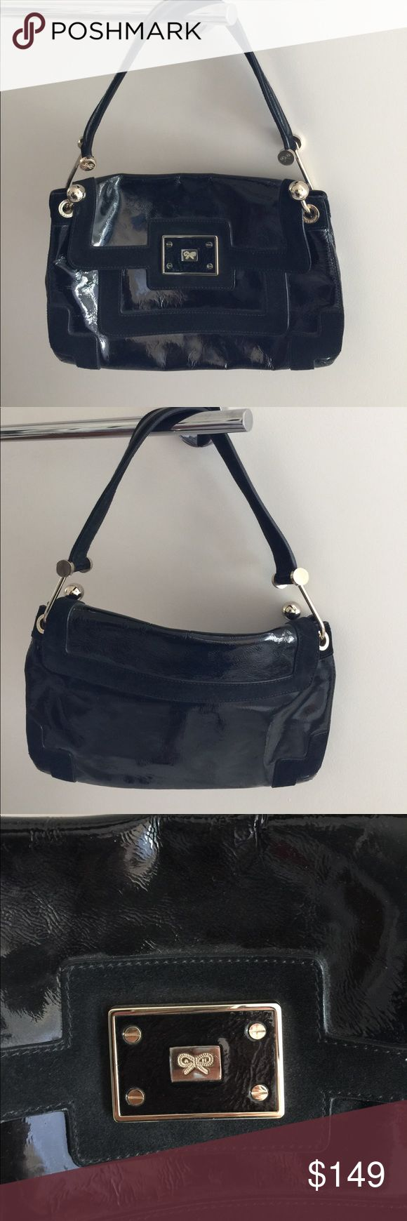 Genuine Anya Hindmarch purse Used 1x for a party. Excellent condition. Black patent leather and suede. Includes dust jacket. Anya Hindmarch Bags Shoulder Bags