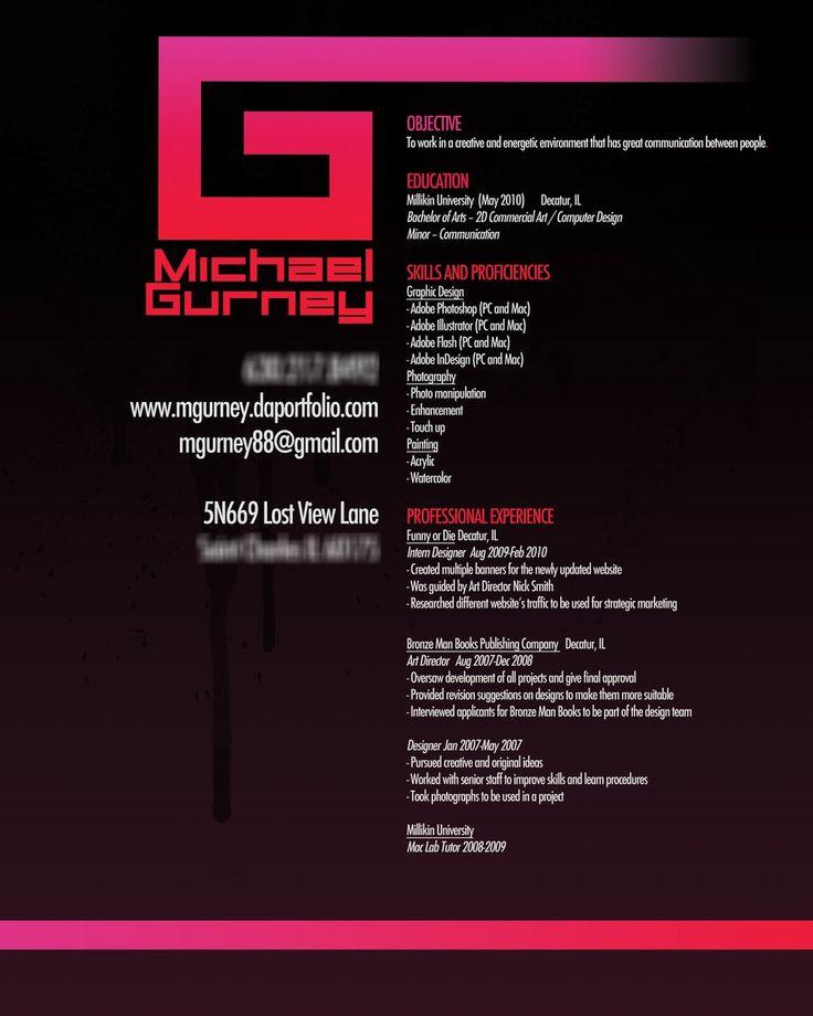 85 best resume template images on Pinterest Job resume, Resume - entry level graphic design resume