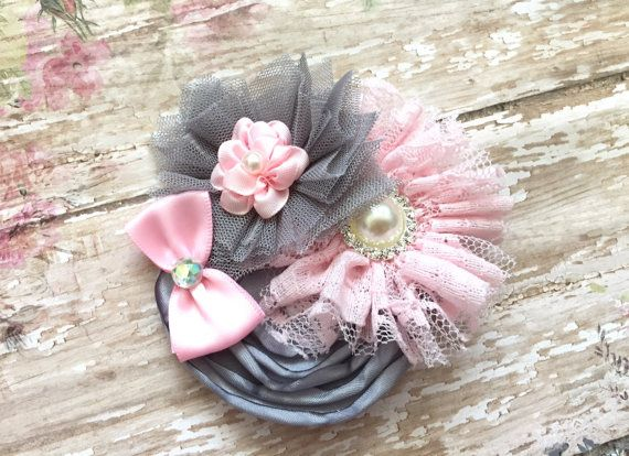 Light pink and grey hair bow Vintage hair by Bethlandboutique18