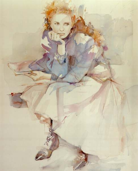 'Contemplation' by Christine Comyn: Watercolor Painting, Watercolor Art, Portraits Watercolor, Art Watercolors, Watercolor Portraits, Illustration, Painting Portraits Figures, Christine Comyn, Watercolour