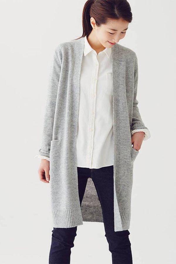 A model wearing a gray Muji sweater