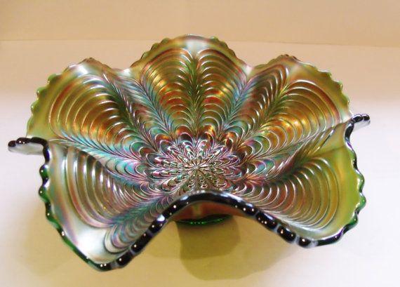 Fenton Green Carnival Glass Ruffled Peacock Tail Bowl