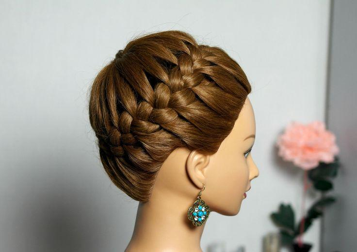"""Прическа на длинные и средние волосы """"Корзинка"""". Плетение косы вокруг го..."""