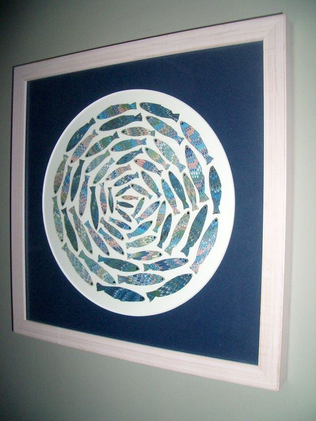 Shoal of fish picture - handcrafted using English marbled paper