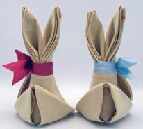 Servietten falten und Osterhasen basteln- mit einer Anleitung klappt`s garantiert