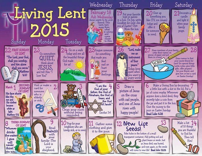 2015 Children's Lenten Activity Calendar