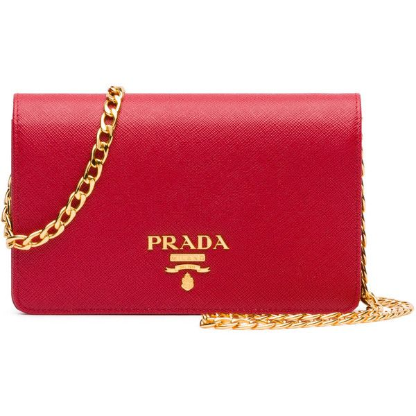 Prada Saffiano Lux Crossbody Bag ($1,270) ❤ liked on Polyvore featuring bags, handbags, shoulder bags, clutches, red, chain shoulder bag, prada handbags, red cross body purse, cross-body handbag and red handbags